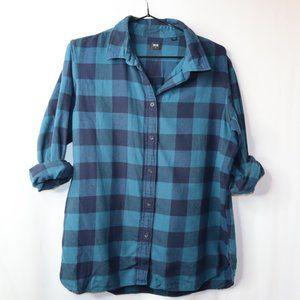 UNIQLO Women's M Teal/ Turquoise Black Plaid Shirt